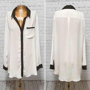 Free People Color Clock Button Down Top